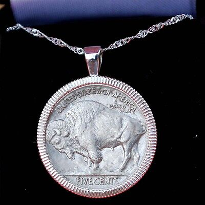 US 1935 Indian Head Buffalo Nickel Solid 925 Sterling Silver Necklace NEW