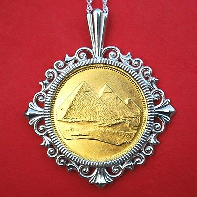 1984 Egypt 2 Piastres Tughra Pyramids BU Coin Solid Sterling Silver Necklace NEW