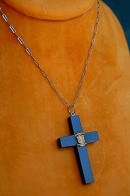 Antique Victorian Jet Mourning Cross on original Sterling Silver Necklace!