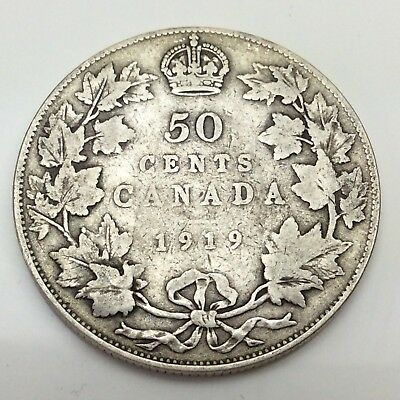 1919 Canada Fifty 50 Cents Sterling Silver Circulated Canadian Coin D292