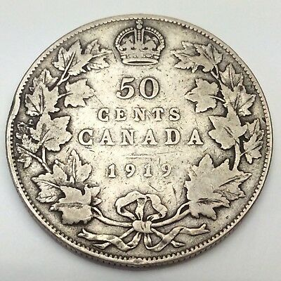 1919 Canada Fifty 50 Cents Sterling Silver Circulated Canadian Coin D293