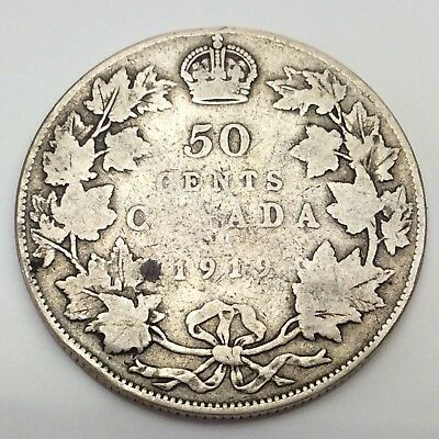 1919 Canada Fifty 50 Cents Sterling Silver Circulated Canadian Coin D295