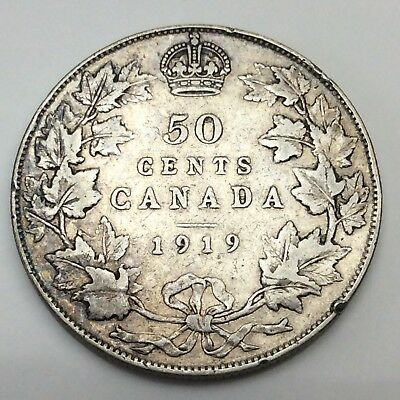 1919 Canada Fifty 50 Cents Sterling Silver Circulated Canadian Coin D296