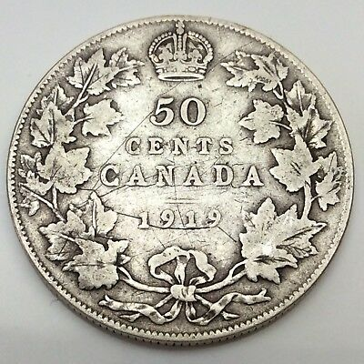 1919 Canada Fifty 50 Cents Sterling Silver Circulated Canadian Coin D297