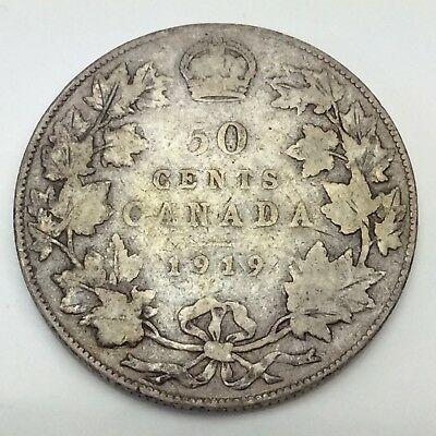 1919 Canada Fifty 50 Cents Sterling Silver Circulated Canadian Coin D298