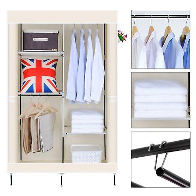 Double Canvas Wardrobe With 2 Hanging Rails Bedroom Clothes Storage Beige