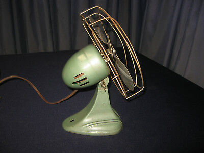 "8"" Vintage Electric Table / Wall Fan Dominion Made Usa Antique Works Great Quiet"