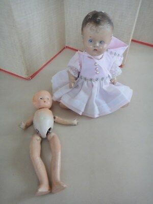 Two Antique Vintage Compostion Dolls In Need Of Tlc