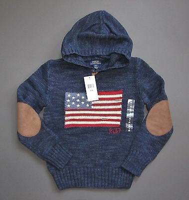 Ralph Lauren Polo USA Flag Sweater Hoodie Pullover Kid Baby Size 2T GENUINE NWT