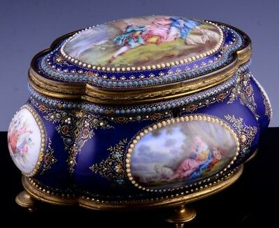 EXCEPTIONAL 18/19thc FRENCH LIMOGES ENAMEL JEWERLY RING CHEST CASKET BOX SEVRES