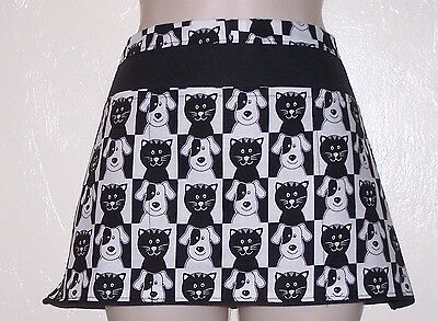 Black and white cats and dogs waitress server waiter waist apron 3 pockets