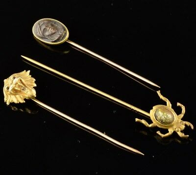 3 Fine Antique Victorian 10K Gold Egyptian Scarab Lion Figural Stick Hair Pins