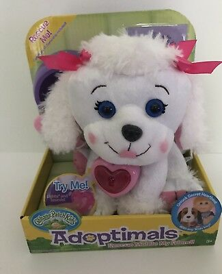 """Cabbage Patch Kids Adoptimals 9"""" White Poodle Plush With Heart Locket Sounds Toy"""