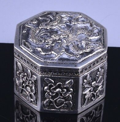 Fine Antique Chinese Sterling Silver Dragon Figural Handmade Snuff Pill Box