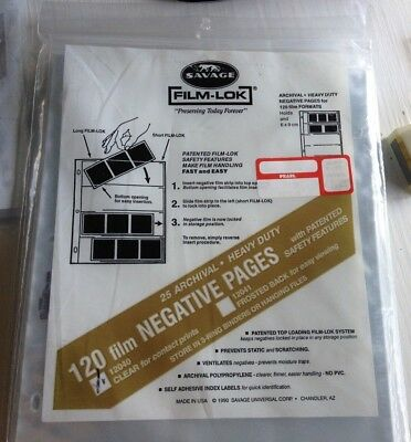 Savage Film-Lok 120 Film 12040 clear 25 negative Pages Archival Heavy Duty