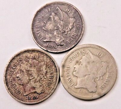 1868+1869+1870 Three Cent Coin (3 Cent) Lot // 3 Coins // (TCL32)