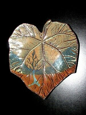 Smith Pottery Leaf Dish Tree of Life Collection - Seagrove NC Art Pottery Signed