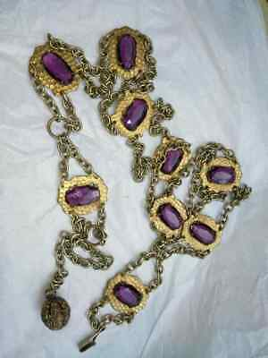 Antique Vintage Art Nouveau Chain Belt W/amethyst Color Stones Metal