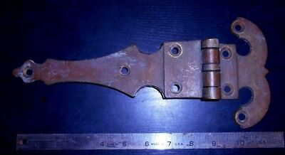 Antique 12 inch Large Heavy Solid Brass Hinge