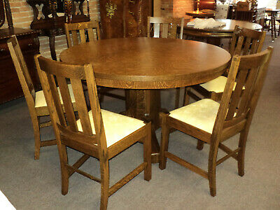 Antique Arts & Crafts Mission Oak Dining Set, Table & 6 Chairs