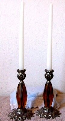 Vintage Retro Hollywood Regency Style Candle Holder Amber Metal Brass Pair Of 2