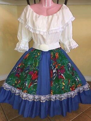 Square Dance White & Blue Parrot Top & Skirt- Large/ XLg