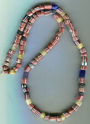 African Trade beads Vintage Venetian glass old striped green hearts glass mix