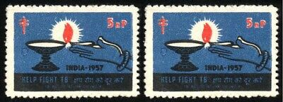 "1957 INDIA Cinderella ""HELP FIGHT TB"" CHARITY 2 stamps"