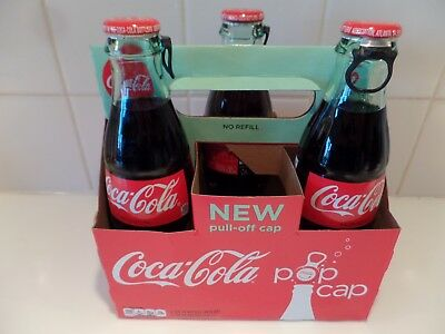 Coca Cola Pop Cap 3 Bottles 1 Carton Pull Off Cap Test Marketed Not Re-Released