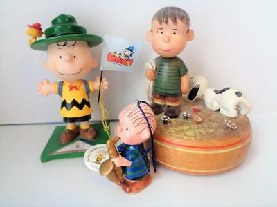 Peanuts Linus & Snoopy ANRI Reuge Music Box Wood Charlie Brown Camp Snoopy