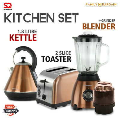 Set of Electric Stainless Steel 1.8L Kettle 2 Wide Slot Slot Toaster & Blender