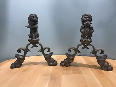 Vintage Brass Lions Fireplace Andirons Made In Belgium