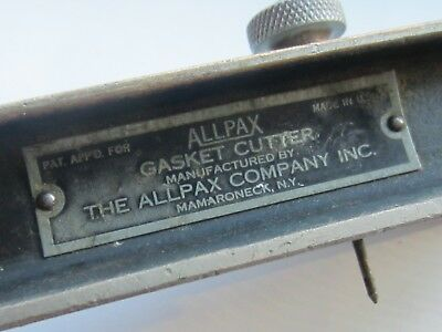"Allpax antique solid brass gasket cutter plated 6"" adjustable mamaroneck NY vtg"