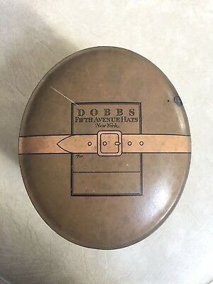 Vintage Tin Dobbs 5th Ave New York Street Scene small metal Hat Box