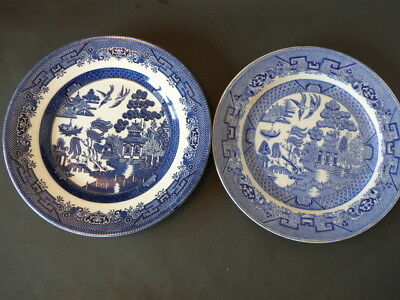 Two Vintage Blue Willow Plates Ridgway and Churchill England