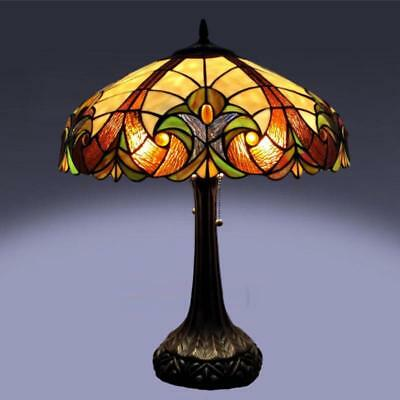 Classic Victorian Tiffany Style Stained Glass Table Lamp w/ Ornate Bronze Finish