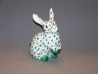 Audrea green hand painted bunny rabbit figurine by Sadek
