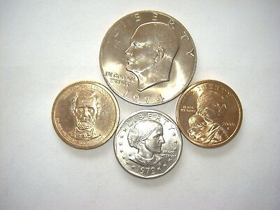 Mixed lot of 4 U.S. Dollar Coins Eisenhower, Lincoln, Sacagawea & Susan Anthony