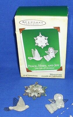 Hallmark Miniature Ornament Set Peace Hope Joy 2005 Angel Dove Snowflake Used 3