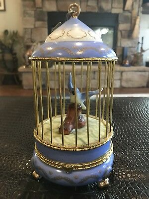 "Vintage ""Imperial Porcelain"" Bird In Cage Large Trinket Box Footed"