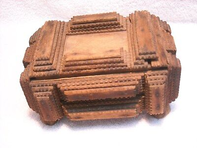 Antique Wooden Tramp Art Box