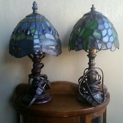 SALE 2 Tiffany Style Blue Stained Glass Lamp With Metal Base