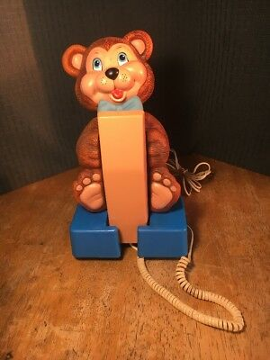 Vintage Fun Old Novelty Teddy Bear Telephone Carlton Model 7780 Untested