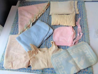Vintage Antique Baby Doll Quilt Bedding Pillow Undershirt Pink Bonnet Tiny Tears