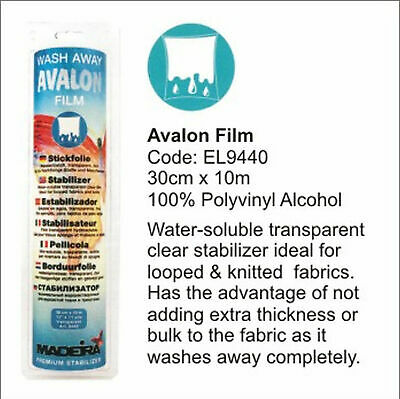 Madeira Avalon Film Wash Away Embroidery Stabilizer (Solvy) 30cm x 10m Roll, Tra