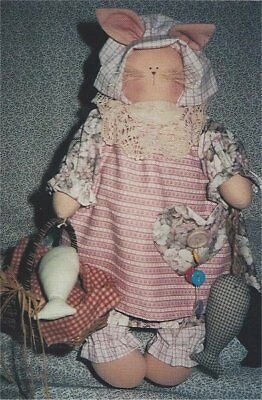 PATTERN Primitive Momma Kitty Cat Doll & Fish Ornie UNCUT OOP Freckles & Co.