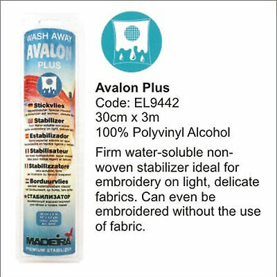 Madeira Avalon Plus Washaway Embroidery Stabilizer 30cm x 3m Roll