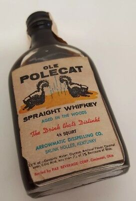 Kentucky Whiskey Bottle Skunk Holler Ole Polecat Gag Gift Stinky Drink Vtg Jokes