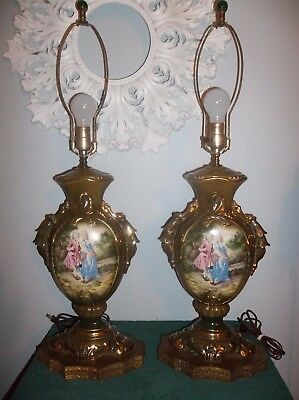 Set of 2 Vintage Victorian Porcelain Lamps Tall Beautiful Metal Bases