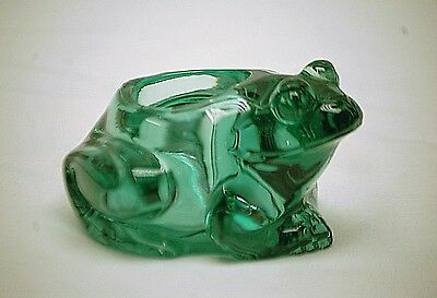 Old Vintage Heavy Solid Green Glass Frog Votive Candle Holder by Indiana Glass